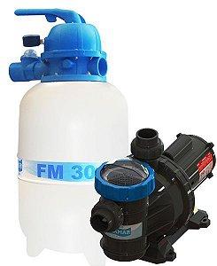 Conjunto Filtro FM-30 e Bomba 1/4cv BMC-25 Mono p/ piscinas de até 28 mil litros