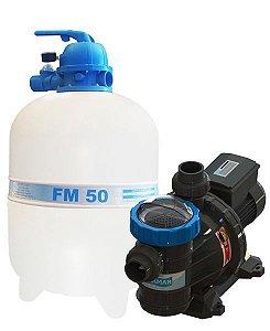 Conjunto Filtro FM-50 e Bomba 3/4cv BMC-75 Mono p/ piscinas de até 78 mil litros