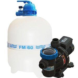 Conjunto Filtro FM-60 e Bomba 1cv BMC-100 Mono p/ piscinas de até 113 mil litros