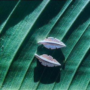 Brinco Mini Folha de Bananeira - Prata 925