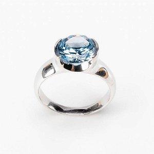 Anel de Prata- 925 Pedra Redonda Blue Zirconia