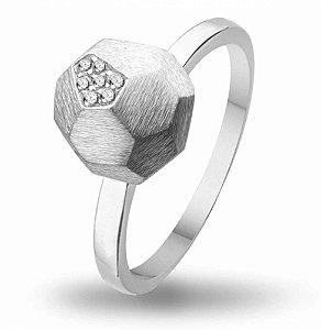 Anel Esfera / Zirconias - Prata 925