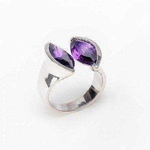 Anel Navete Duo Purple - Prata 925