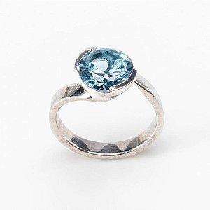 Anel Pedra Redonda Blue Plus - Prata 925 / Zirconia