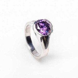 Anel Redondo Pedra Purple - Prata 925