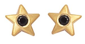 Brinco Estrela Mini de Ouro com Espinélio 18k
