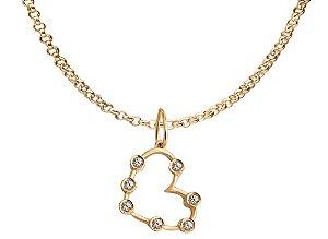 Colar de Ouro com Pingente Coração e Topazios - 18k
