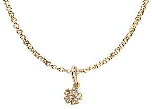 Corrente de Ouro com Pingente Trevinho e Diamantes 18k