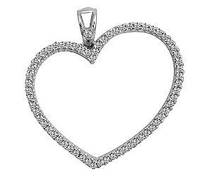 Pingente Coração / Zirconias - Prata 925