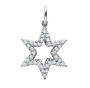 Pingente Estrela de Davi / Zirconias - Prata 925