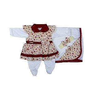 Saida Maternidade Vestido RN (Florzinha Vermelho)