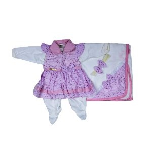 Saida Maternidade Vestido RN (Rosa/Estrelinha)