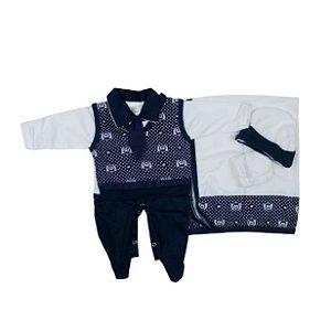 Saída Maternidade Suéter RN (Azul Marinho)