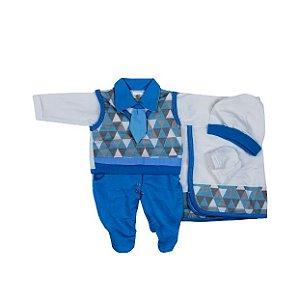 Saída Maternidade Suéter RN (Azul Triangulo)