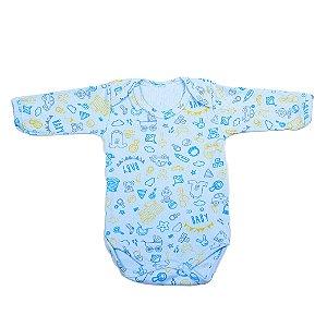 Body Estampado M/L Carrinho Azul Bebê (Vitrine)