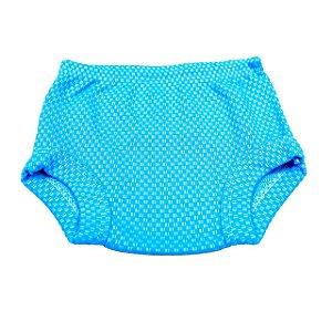 Tapa Fralda Xadrez (Azul Celeste)