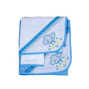 Jg de Toalha 3Pçs (Azul Bebê/Nuvens)
