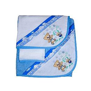 Jg de Toalha 3Pçs (Azul Bebê/Ursinhos)