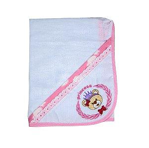 Toalha Fralda Tecido Duplo (Rosa Bebê/Ursa Coroa)