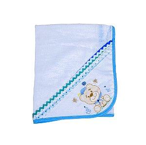 Toalha Fralda Tecido Duplo (Azul Bebê/Urso)