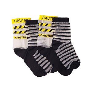 Pack Basic -  Meia Stripes Black (par) + Meia Caution Black (par)