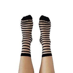Meia Transparente Stripes Black