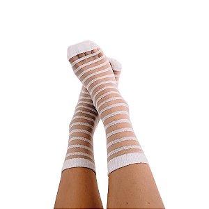 Meia Transparente Stripes White
