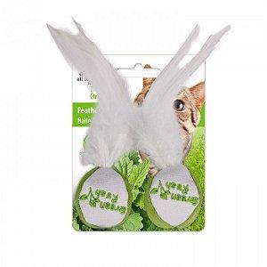 Brinquedo Afp Bola Com Penas Catnip Canadense Para Gatos - Green Rush