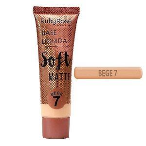Base Liquida Soft Matte  Bege Cor 7 - Ruby Rose Hb 8050