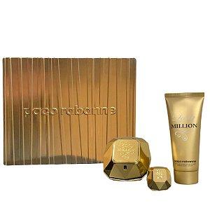 Kit Lady Million 80ml + Perfume 5ML + Loção Corporal 100ml
