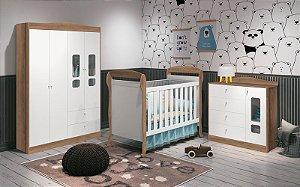 Dormitório danny branco fosco com mezzo - berço + cômoda + roupeiro - Reller