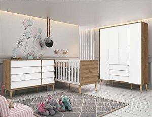 Dormitório Noah retrô branco fosco com mezzo pés natural-Reller