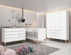 Dormitório Noah retrô branco fosco com pés natural-Reller