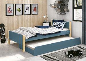 cama de solteiro azul fosco  com pés em madeira natural- reller