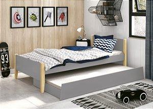 cama de solteiro cinza fosco  com pés em madeira natural- reller