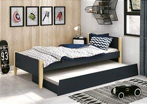 cama de solteiro grafite fosco  com pés em madeira natural- reller