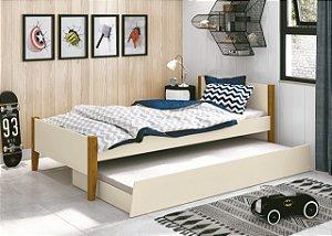 cama de solteiro areia fosco  com pés em madeira- reller
