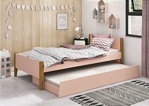 cama de solteiro rosa fosco  com pés em madeira- reller
