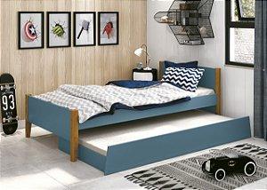 cama de solteiro azul fosco  com pés em madeira- reller