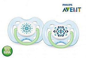 Chupeta Dupla Freeflow 0 a 6 meses Contemporânea Azul - Avent