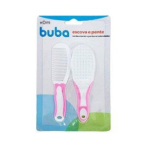 Escova e Pente Baby Rosa - Buba