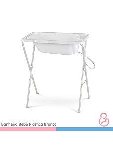 Banheira Bebê Plástica Branca - SUPORTE VENDIDO SEPARADAMENTE - Galzerano
