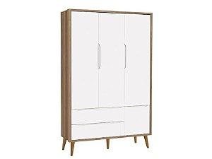 Roupeiro Théo 03 Portas Branco Fosco com Mezzo com pés em madeira - Reller