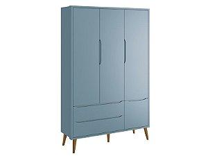 Roupeiro Théo 03 Portas Azul com pés em madeira - Reller