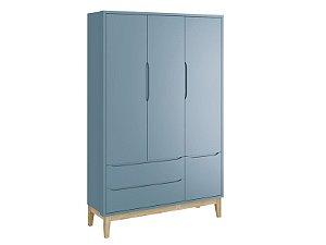 Roupeiro Classic 03 Portas Azul com pés em madeira natural - Reller