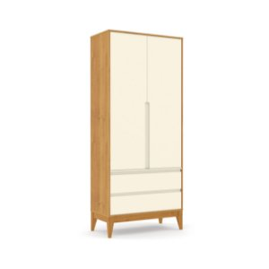 Roupeiro Nature Clean 02 Portas Off White Freijó EcoWood - Matic
