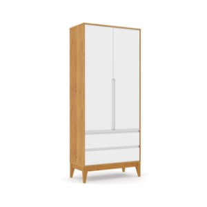 Roupeiro Nature Clean 02 Portas Branco Soft Freijó EcoWood - Matic