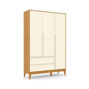 Roupeiro Nature Clean 03 Portas Off White Freijó EcoWood - Matic