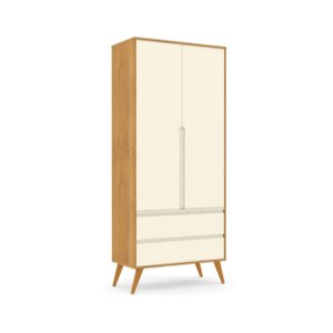 Roupeiro Retrô Clean 02 Portas Off White Freijó EcoWood - Matic