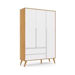 Roupeiro Retrô Clean 03 Portas Branco Soft Freijó EcoWood - Matic